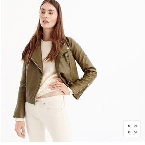 J. Crew Collection Navy Leather Moto Jacket
